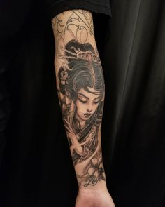 Kenny thanks for putting up with me and helping me through this hard time. Japanese Tattoos For Men, Japanese Tattoo Designs, Japanese Tattoo Art, Japanese Sleeve Tattoos, Geisha Tattoos, Geisha Tattoo Design, Asian Tattoo Sleeve, Tattoo Sleeve Filler, Geisha Tattoo Sleeve