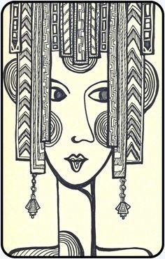Zendoodle Art Deco Lady ---- Doodled in Moleskine sketch book with black pigment pens. Art Doodle, Doodle Art Designs, Doodle Art Journals, Art Journal Pages, Doodle Ideas, Zentangle Drawings, Art Drawings Sketches, Zentangle Patterns, Zentangles