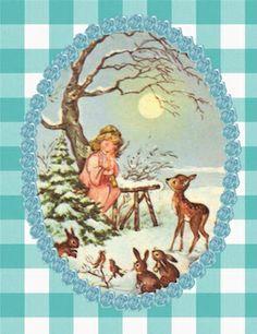 Kerstkaart Engeltje met hertjes en konijntjes | Kerstkaarten | Juffrouw zonder Zorgen