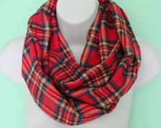 red plaid infinity scarf, flannel Infinity Scarf -Circle Scarf -plaid Loop Scarf, Eternity Scarf, Fall Scarf, Winter Scarf