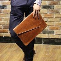 Wish | Men's Leather Handbag Envelope Flap Briefcase Purse Clutch Bag