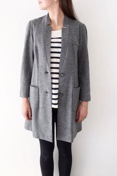 Manteau long gris Blazer, Collection, Sweaters, Jackets, Women, Fashion, Gray, Duster Coat, Fall Winter