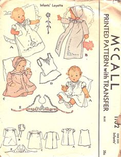 McCalls Pattern 1162 Vintage 40s Infants' Layette - Dress, Wrapper, Coat, Bonnet, Slip, Bib + Embroidery Transfer dated 1944. This includes a long and short dress with puffed sleeves, lined coats, slip, bonnet, and bib.