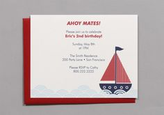 Sailboat A2 Flat Note Birthday Party Invitations Set by RatDogInk, $17.00