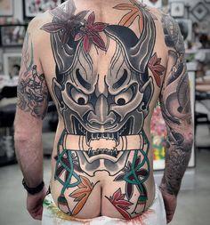 Fullback Hannya tattoo done by artist 🔥 - Fullback Hannya tattoo done by artist 🔥 - Wolf Tattoo Back, Small Wolf Tattoo, Wolf Tattoo Sleeve, Wolf Tattoos, Skull Tattoos, Girl Tattoos, Tattoos For Guys, Backpiece Tattoo, Hannya Tattoo