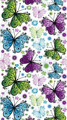 Butterfly Wallpaper Iphone, Flower Background Wallpaper, Cellphone Wallpaper, Flower Backgrounds, Wallpaper Backgrounds, Iphone Wallpaper, Apple Wallpaper, Pink Wallpaper, Cool Wallpaper