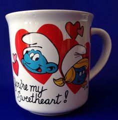 Smurfette Smurf Heart Mug Smurfs Coffee Cup VTG Valentine's Day Love Sweetheart #WallaceBerrie