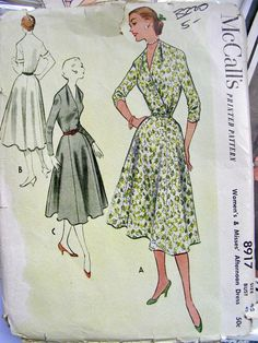 SALE Vintage 50s Sewing Pattern 8917 - LOVELY Afternoon Dress  - McCall's  - bust 42 - Uncut. via Etsy.
