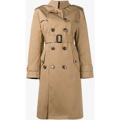 Balenciaga Balenciaga 'Swing' Trenchcoat (42,990 MXN) ❤ liked on Polyvore featuring outerwear, coats, long sleeve coat, mid length coat, double-breasted coat, balenciaga coat and beige coat