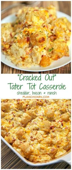 """""""Cracked Out"""" Tater Tot Casserole Recipe - easy Cheddar, Bacon and Ranch potato casserole using frozen tater tots. So simple and tastes amazing! The flavor combination is highly addictive!! Can freeze casserole for easy side dish later."""