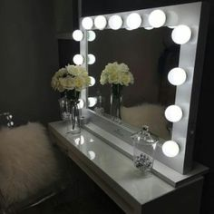 espejo de maquillaje con luz profesional