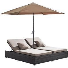 Zuo Atlantic Outdoor Weave Double-Chaise Umbrella Lounge ($1,798) ❤ liked on Polyvore featuring home, outdoors, patio furniture, outdoor loungers & day beds, beige, seating, outdoor lounger, ivory lounge, woven patio furniture and zuo outdoor furniture