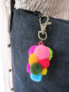 Key Chain Bag Accessories Colorful Grapes Pom Poms Handmade
