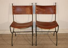 2 Vintage Charleston Forge Wrought Iron and Leather Chairs #CharlestonForge #Contemporary