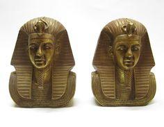 deco egyptian pharoah book ends
