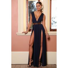 Navy Deep V Double slit maxi Dress for $61.00 available at kamishade.com