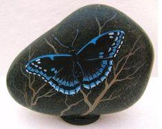 Hand Painted Rock Art Paintings Butterfly Martha Winenger   eBay
