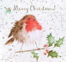 Wrendale Designs merry Christmas 8 cards envelopes in gift wallet robin