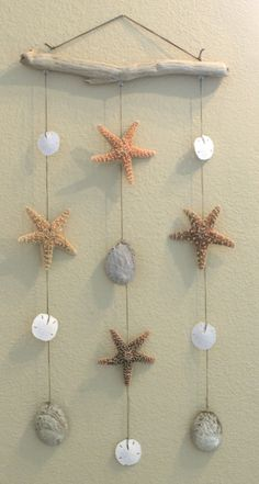 Mobile - driftwood, starfish and sea shells