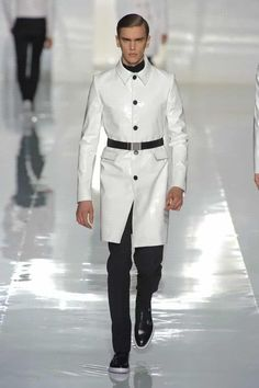 Dior white Patton leather belted trench  Fall 2013