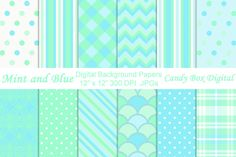Mint and Blue Digital Papers by Candy Box Digital on @creativemarket