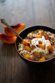 Steal cut oats, peaches, greek yogurt and chai seeds.