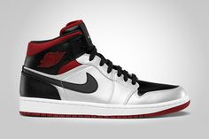 Air Jordan 1 Mid – Metallic Platinum/Gym Red