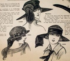 French Magazine- Complete 16 pages - yellowed newsprint - 1920s fashion, hats, patterns, ads