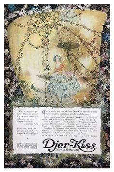 Again,Djer Kiss Perfume with its Fairy-Tale ads! 1917 Woman's Home Companion Djer Kiss Ad French Perfume Vintage Fairies Peacock Vintage Advertisements, Vintage Ads, Vintage World Maps, Magazine Illustration, Cute Illustration, Vintage Makeup, Vintage Beauty, Propaganda Art, Perfume Ad
