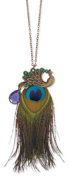 """30"""" Antiqued Gold Metal Peacock & Peacock Feather Necklace"""