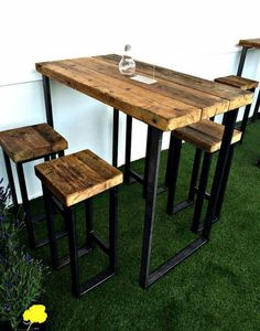 Reclaimed Industrial 4 Seater Chic Tall Poseur Table – Bar Cafe Restaurant Wood Steel Metal Hand Made Bespoke 346 - Modern Wood And Metal Desk, Metal Stool, Metal Desks, Wood Steel, Metal Chairs, Wood Desk, Steel Bar, Wood Chairs, Metal Bar Stools