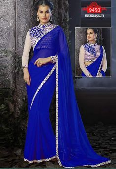 Bollywood Inspired Blue Colour Georgette Mirror Work Saree Buy Sarees