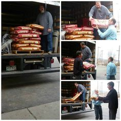 """HUGE """"bark"""" out to Sean and Robert Striegel at Frontier Feeds llc for donating an entire pallet of dog food to the shelter!!! Thank you Marc at 1400 KRLN for helping unload! It's people like you that make it possible to provide animals with the love and care they deserve."""