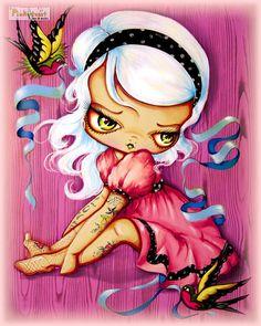 SALE-Little Cupcake Tattoo-Platinum Pinup Girl-Big Eye-Pinkytoast Art Print 8x10