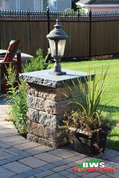 Best Way Stone > Column: Parkwall Antico (Beige Mix)  Coping - Parkwall Column Cap (Ultra Black). #outdoor #patio #garden #column