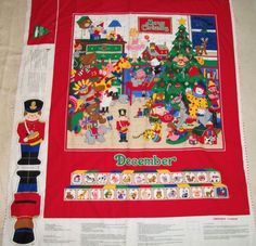 Cranston fabric panel Merry Christmas Advent Calendar wall hanging for December