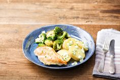 Pan-Seared Garlic Chicken with Crispy Broccoli and Potatoes Huancaina Recipe | HelloFresh