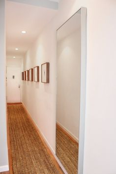 Long entryway rug found the perfect jute rug for his super long and narrow hallway entryway . Narrow Hallway Decorating, Narrow Entryway, Hallway Ideas Entrance Narrow, Upstairs Hallway, Long Hallway, Foyer Decorating, Narrow Hallways, Entryway Ideas, Modern Hallway