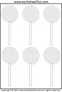 Candy Tracing and Coloring - 4 Halloween Worksheets