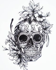 Hoping if I pin enough images of super sweet tats I'll finally gain the courage to get my own  Think it'll work?  #tattoo #tattoodesign #skulltattoo #sugarskull