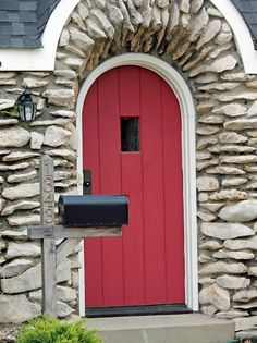 Red Door and Stone