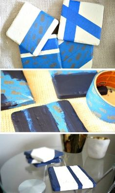 AFFORDABLE & easy DIY COASTERS! Easy to make tutorial to add the right punch of color to any room!      DIY coasters, how to make coasters, make your own coasters, paint coaster, etc!