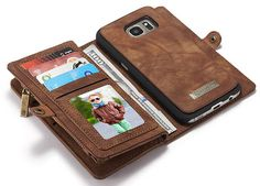 CaseMe 008 Samsung Galaxy S7 Zipper Wallet Detachable 2 in 1 Retro Flannelette Leather Folio Case Brown
