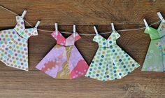 Vestidos de origami Arteiras de Coração www.arteirasdecoracao.com.br