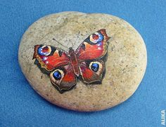 Peacock Butterfly hand painted rock by Alika-Rikki, Painted Garden Rocks, Painted Pavers, Hand Painted Rocks, Painted Pebbles, Pebble Painting, Pebble Art, Stone Painting, Diy Painting, Rock Painting