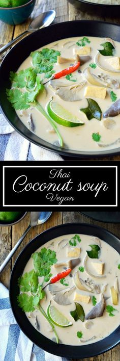 This vegan Thai coconut soup is a light and tasty, totally vegetarian version of Tom Kha Gai – one of Thailand's most famous soup exports. This soup perfectly balances the sour, sweet, salty and spicy (Best Salad Vegan) Vegan Soups, Vegan Dishes, Vegan Vegetarian, Thai Vegetarian Recipes, Thai Curry Recipes, Vegan Meals, Vegan Food, Coconut Recipes, Vegan Recipes
