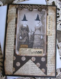 Halloween Card  Primitive Halloween Handmade by SweetLibertyBarn, $5.00