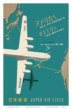 error888: 12 x 18 Japan Airlines America Okinawa Vintage by IslandArtStore