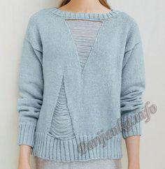 Пуловер (ж) 06*655 Phildar №4783 Knitwear Fashion, Knit Fashion, Sweater Fashion, Crochet Stitches Chart, Knitting Stitches, Pullover Mode, Knitting Machine Patterns, Summer Knitting, Knitting Designs