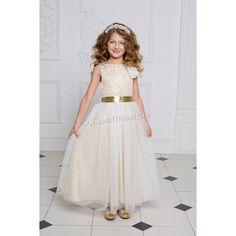 Длинное золотистое платье для девочки (без рукава)